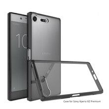حافظة إطار وسادة هوائية هجينة مضادة للصدمات مع غلاف خلفي شفاف من الأكريليك لهاتف Sony Xperia XZ Premium Fundas Coque