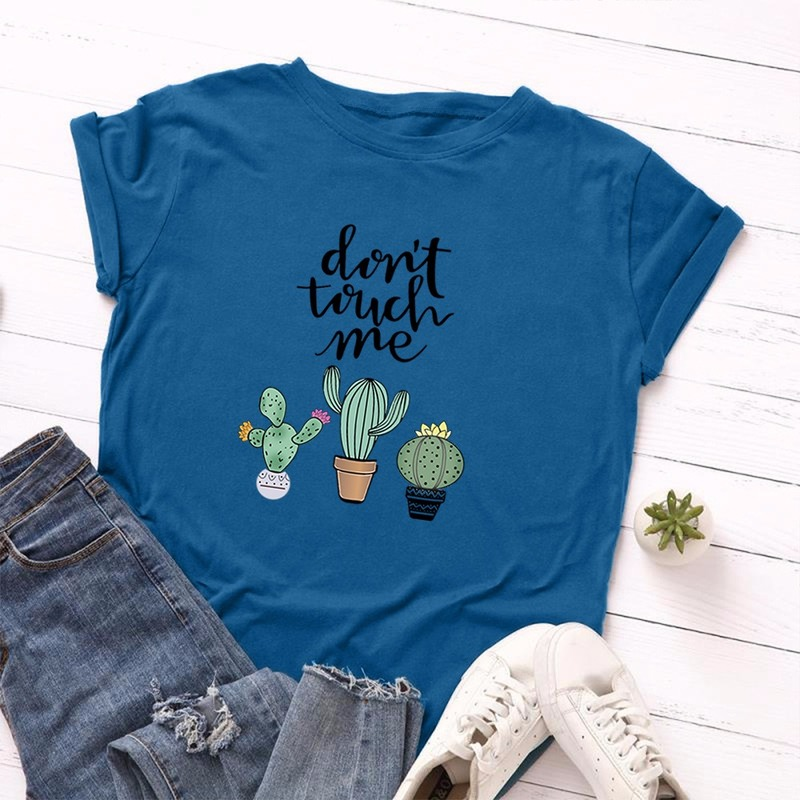 JCGO Summer Cotton Women T Shirt 5XL Plus Size Cactus Don't Touch Me Short Sleeve Woman Tees Top Casual O-Neck Female tShirts 5