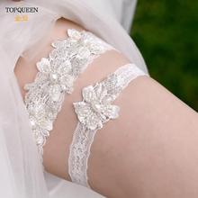 TOPQUEEN резинка кружево штанина подвязка жемчуг цветок свадебный подвязка комплект невеста свадьба аксессуары +свадебный косплей мода чулки TH40