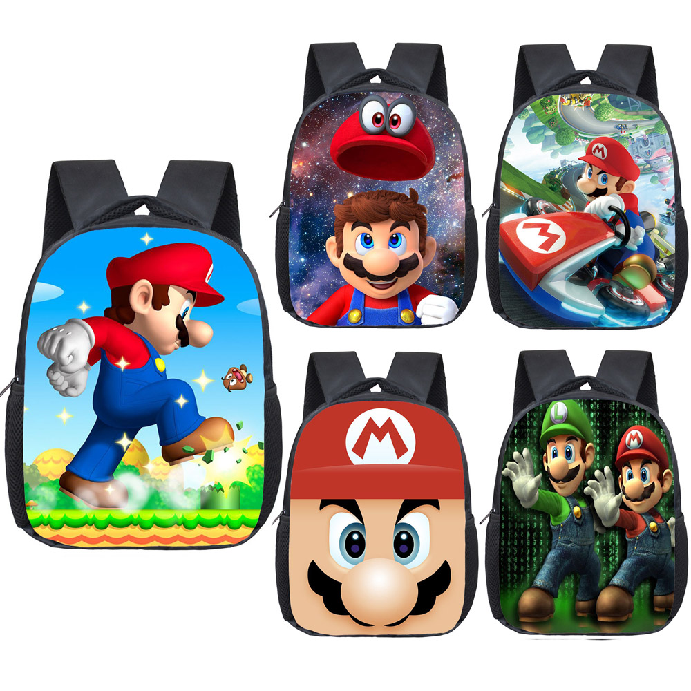 12 Inch Cartoon Mario Backpack Children School Bags Boys Girls Kindergarten Backpack Kids Toddler Bag Bookbag