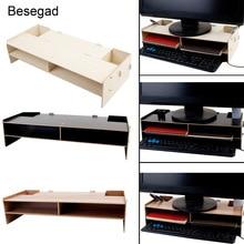 Besegad Decorative Wood Computer Desktop Monitor Over Keyboard Monitor Riser Stand Desk Organizer Monitor Stand Storage Box Case