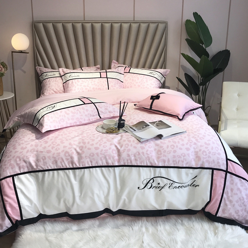 Super Quality Girl Heart Bedsheet PureCotton 60Branch Bumping Split Joint Princess Wind Quilt Cover Pink Wedding Bedding Article