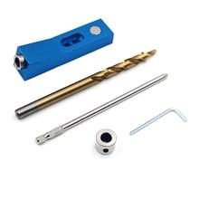 цена на Mini Pocket Hole Jig Kit set DIY Carpentry Tools Pocket Hole Jig Kit Angle Drill Guide Set Hole Puncher Locator Drill Bit Set