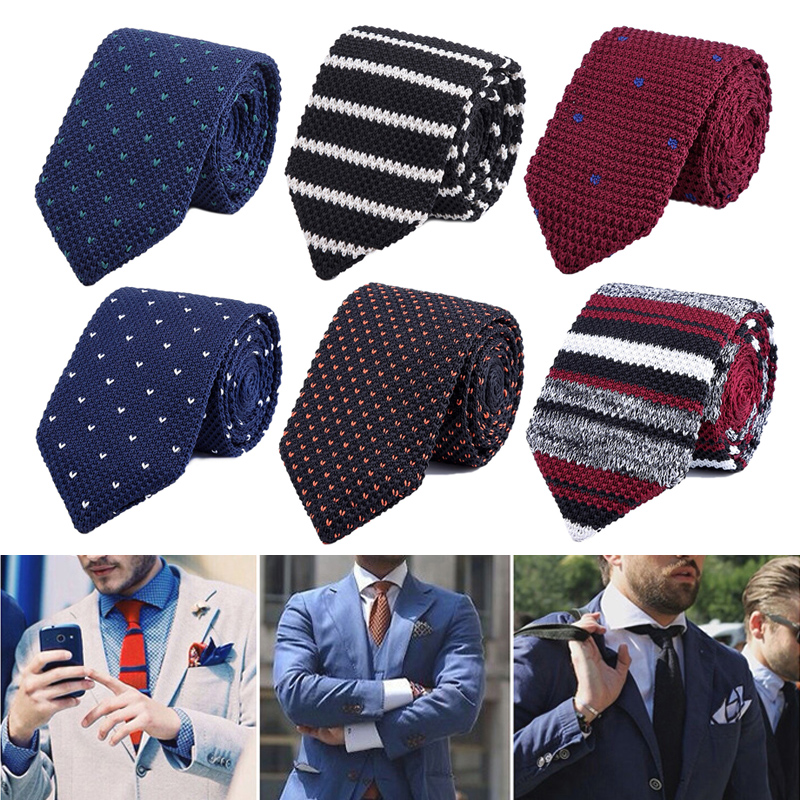 Fashion Men Classic Knitted Necktie Neckwear Breathable For Wedding Party Business Suit Colorful Male Knit Ties Cravat New Gift