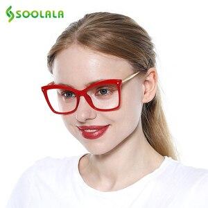 Image 2 - SOOLALA gafas de lectura tipo ojo de gato con remaches para mujer, grandes gafas, gafas de aumento, presbicia con dioptría 0,5 0,75 1,25 a 5,0