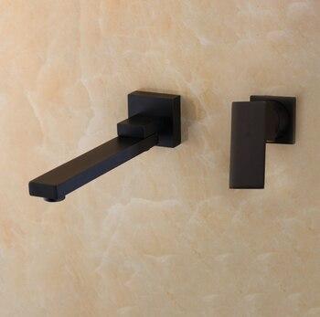 KEMAIDI Wall Mounted Basin Faucet Matte Black Bathroom Mixer Tap Hot Cold Sink Faucet Rotation Spout  Bathtub Shower Faucet 2pcs 7