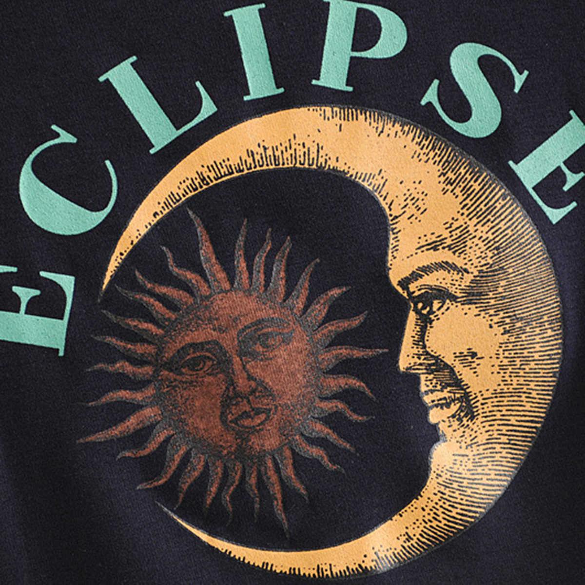 Jastie Eclipse nadruk Bodycon krótki Top krótki rękaw O szyi