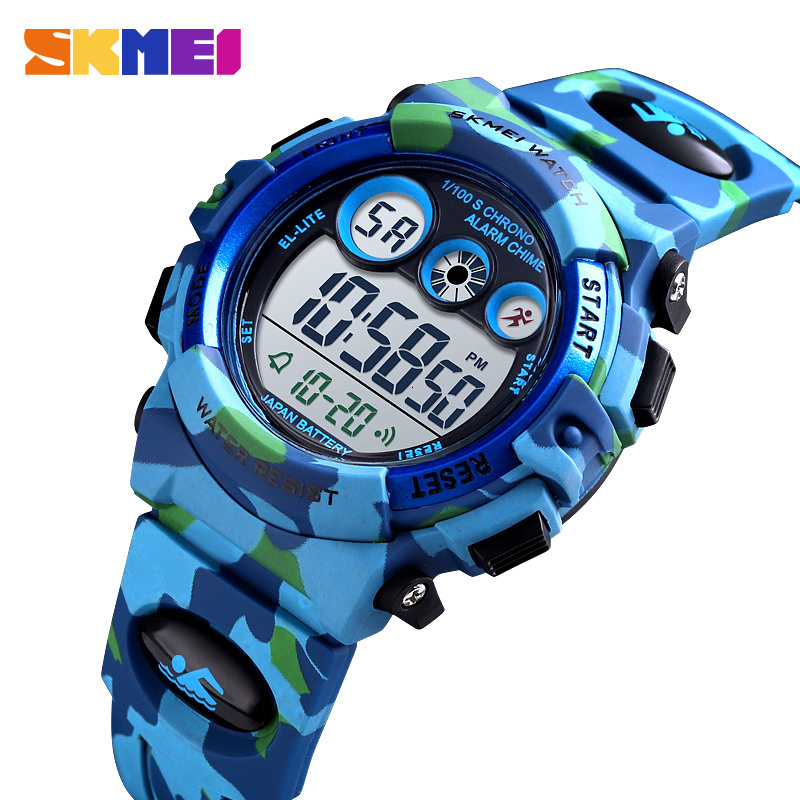 SKMEI Sport Kids Watches Young And Energetic Dial Design 50M Waterproof Colorful LED+EL Lights Relogio Infantil  Children's