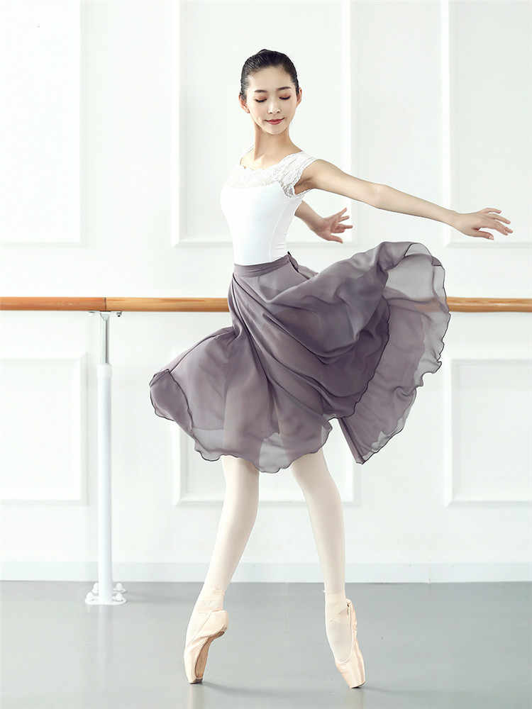 Women Ballet Tulle Skirt Gymnastics Leotard Practice Dresses Teachers Wraps Ballet Dance Ballerina Chiffon Dance Yoga Skirts