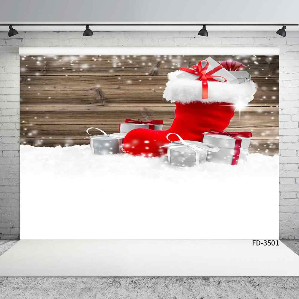 Christmas Sock Gifts Snow Wooden Board Photo Backgrounds Vinyl Photography Studio Backdrop for Children Baby Shower Photoshoot
