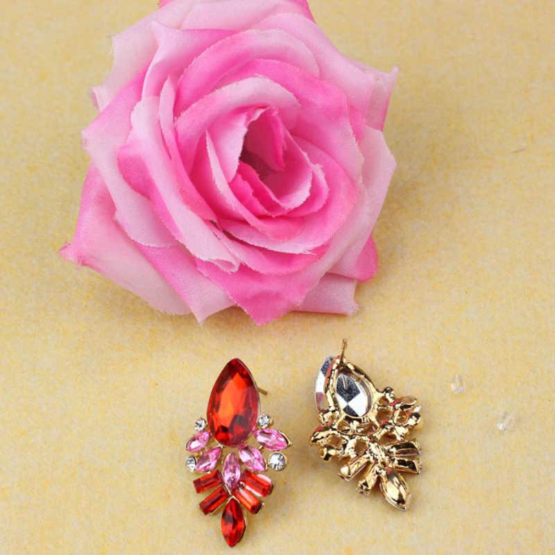 Ethnische Indischen Big Ohrringe Mode Frauen Dame Strass Kristall Legierung Ohr Bolzen Ohrringe Prom Anhänger Ornamente Geschenke Heißer Rosa