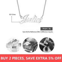 925 Sterling Silver Personalized Necklace Custom Made Gifts for Girlfriend