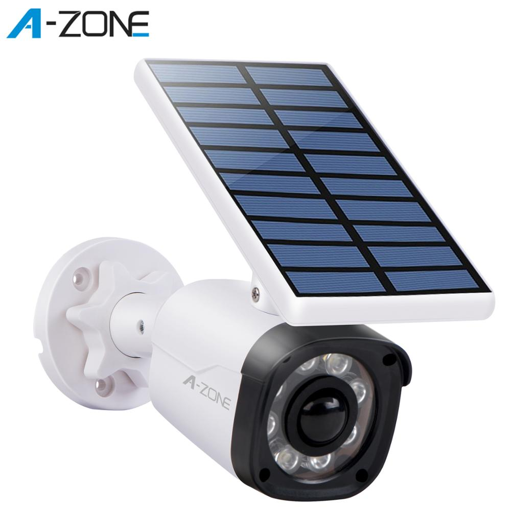 A-ZONE Outdoor Fake CCTV Security Camera Solar LED Light PIR Motion Sensor IP66 Street Wireless Dummy Surveillance Bullet Camera