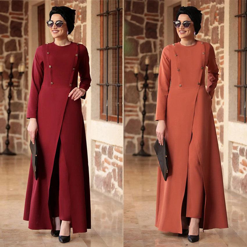 2Pcs Muslim Sets Fashion Islamic Clothing Women Tops Pants Abaya Dress Irregular Split Eid Mubarak Saudi Arabia Dubai Casual Set