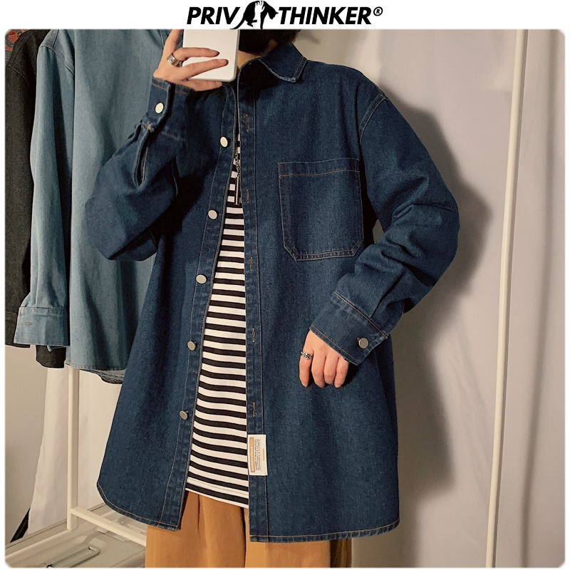 Privathinker Men Spring Solid Turn-sown Collar Denim Jackets 2020 Mens Korean Jacket Male Streetwear Fashion Loose Denim Coat