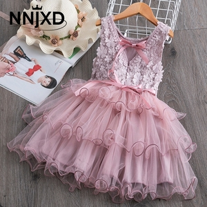 Summer Toddler Girls Lace Cake Dress Kids Sleeveless Floral Mesh Wedding Dresses Children Clothing For Baby Girls 3 to 8 Years(China)