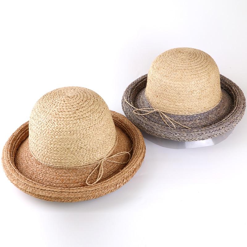 DANA XU Women Straw Panama Hat Fedora Beach Sun Hat Wide Brim Straw Roll Up Hat UPF 30+