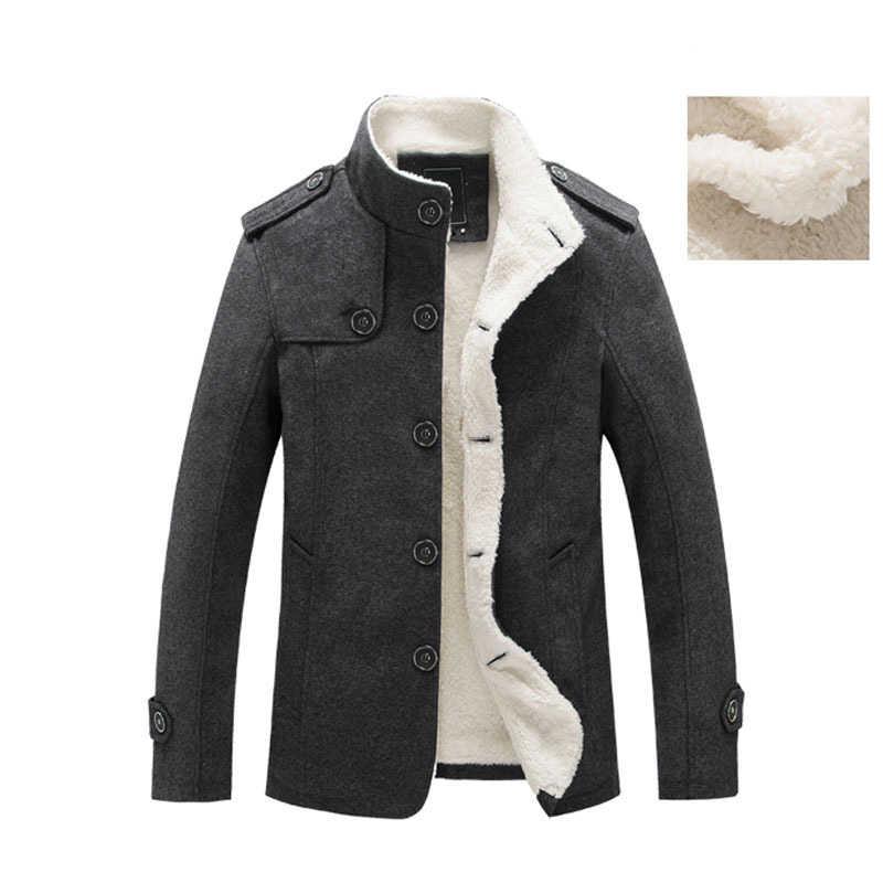 LOVZON зимнее Мужское пальто с флисовой подкладкой, толстое теплое шерстяное пальто, осеннее пальто, мужские полушерстяные куртки, брендовая одежда 2020, Новинка