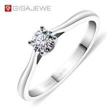 GIGAJEWE – bague en argent et diamant 925 pour femme, anneau de 4mm, taille ronde EF VVS1, Moissanite, Test réussi, mode, réglage des griffes, cadeau pour petite amie