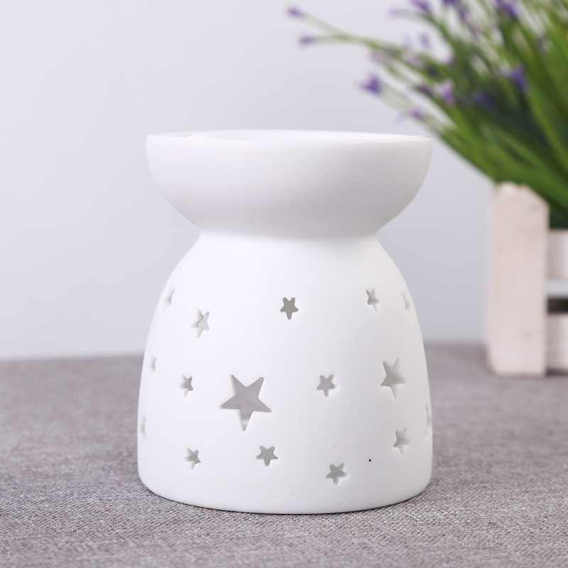 Unglazed Ware White Ceramic Scent Essential Aromatherapy Oil Burner Diffuser Aroma Porcelain Home Candle Oil Incense Burner E $