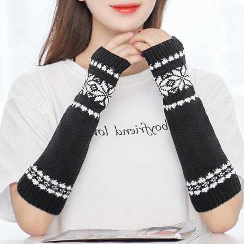 Women Men Unisex Snowflake Pattern Jacquard Fingerless Gloves Winter Crochet Knit Arm Warmers Mittens With Thumbhole Gift