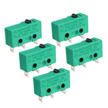 uxcell 5PCS KW4-3Z-3 Micro Limit Switch SPDT NO NC 3 Terminals Momentary Push Button Actuator Green