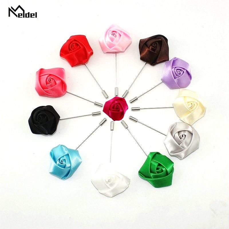 Meldel Groomsmen Boutonniere Men Brooch Pins Artificial Silk Rose Flowers Corsage Wedding Groom Boutonniere Multi Color Pins