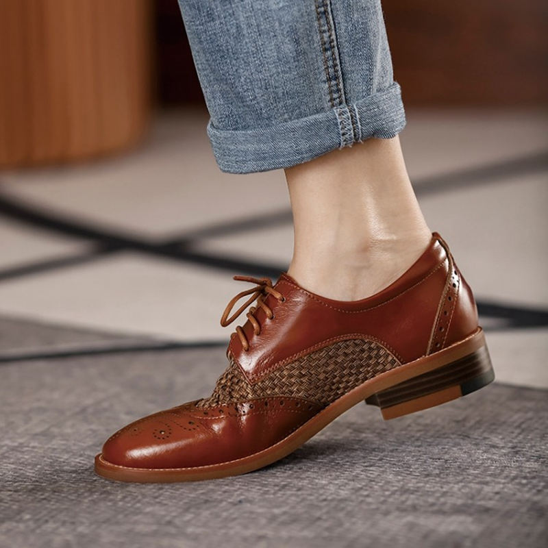 Women Oxford Flats Spring/Autumn Shoes for Woman Genuine Leather Brogues Vintage Lace up Loafers casual weave Black Girls shoes