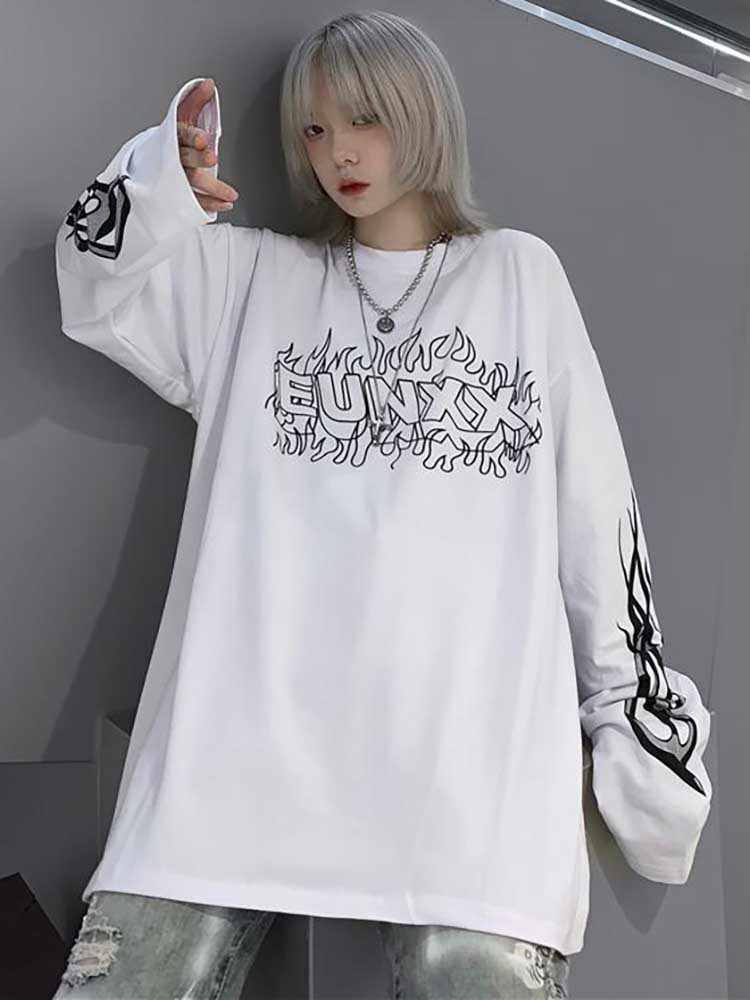 NiceMix Harajuku Stil Streetwear Flamme Briefe Drucken t shirt tops Herbst lose Langarm hip hop T-Shirt frauen männer kleidung