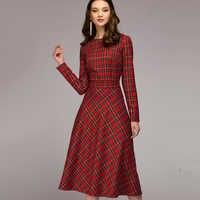 Femmes Vintage Plaid imprimé a-ligne ceintures robe de soirée à manches longues O cou élégant bureau dame robe 2019 hiver nouvelle mode robe