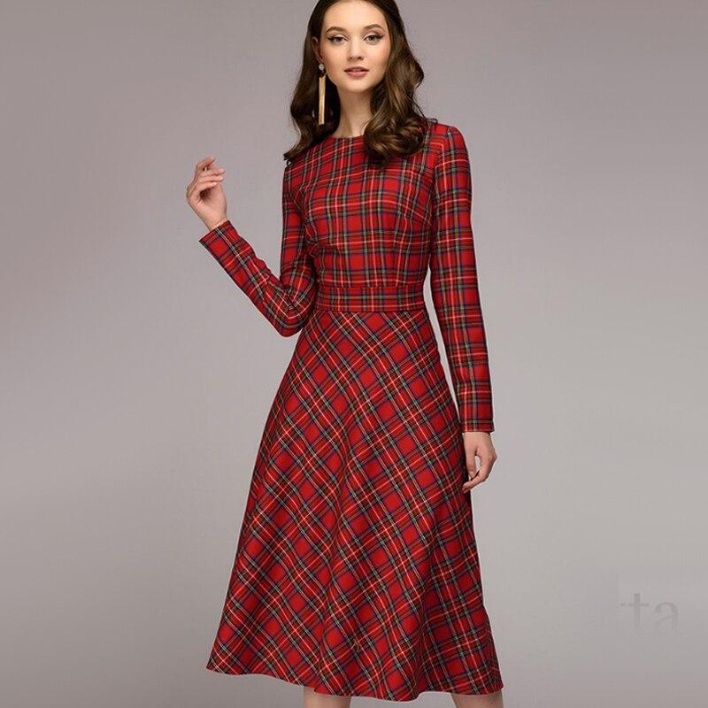 Women Vintage Plaid Printed A-line Sashes Party Dress Long Sleeve O Neck Elegant Office Lady Dress 2019 Winter New Fashion Dress