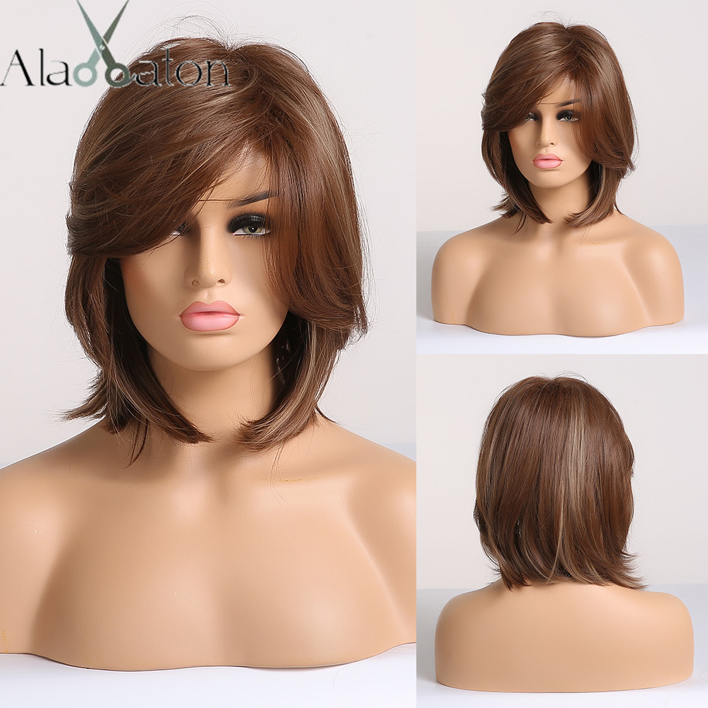 ALAN EATON Short Straight Hair Wig Synthetic Hair Wigs For Black Women Brown Blonde Mixed Natural Hair Wigs With Side Bangs