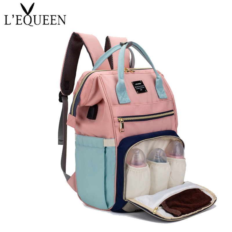 LEQUEEN Mummy Bag USB Multifunction Mass Diaper Bag Backpack Mother's Travel Stroller Large-Capacity Nappy Backpack Organizer