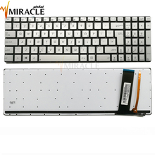 Laptop Keyboard for Asus N550 Q550 N76 N550LF N550J N550JA UK English silver with backlit Original replacement 0KN0-N43UK23