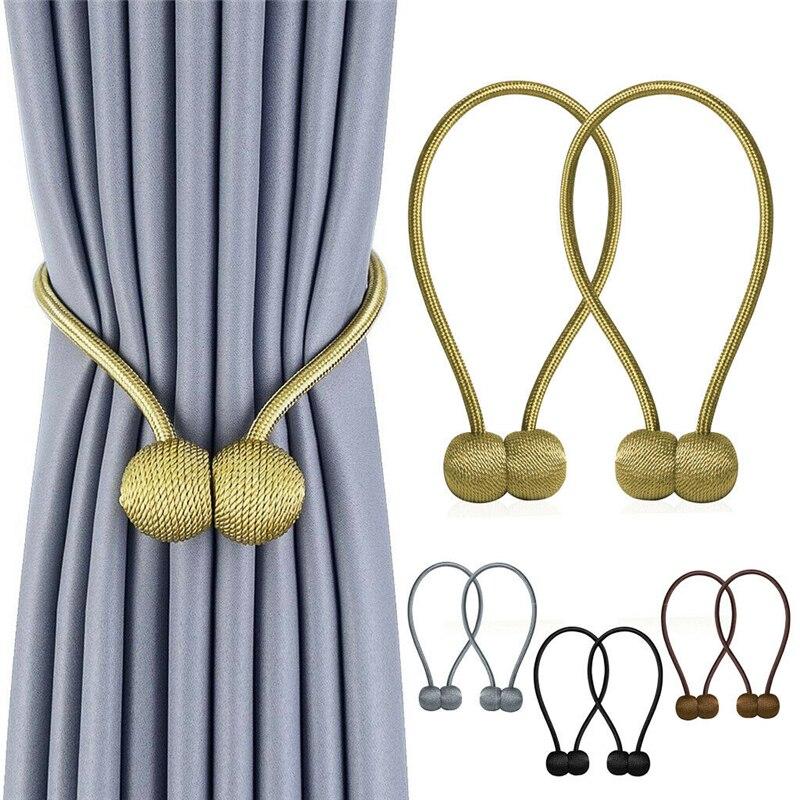 Bola magnética nueva cortina de perlas cuerda de corbata sencilla accesorios varillas accesorios Backs Holdbacks hebilla Clips gancho titular decoración del hogar
