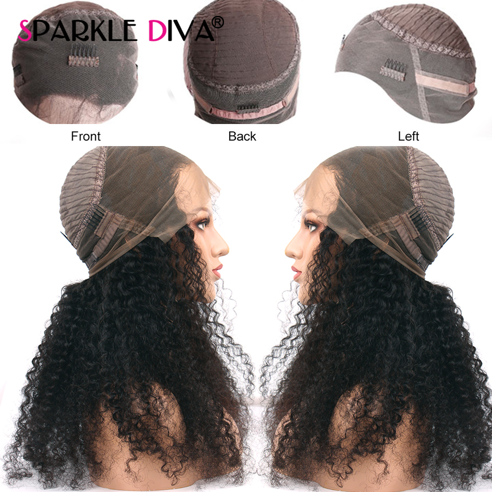 Brazilian Kinky Curly Human Hair Wig For Black Women 180 Density Remy 360 Lace Frontal Human Hair Wigs PrePlucked With Baby Hair