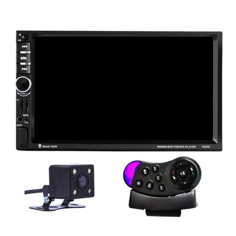 2 DIN 1080P uniwersalny 7020G samochodowy odtwarzacz DVD odtwarzacz wideo 12V ekran dotykowy nawigacja GPS z pilotem kamera tylna,