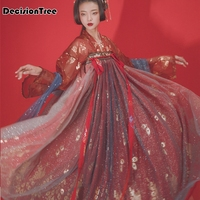 2019 sparkling red hanfu for women chinese sequin costumes cosplay ancient people performance swing dancer stage costume