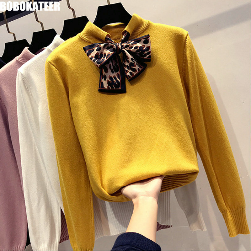 BOBOKATEER Fashion Winter Yellow Knitted Sweater Women Clothes Casual White Pullover Jersey Mujer Sweter Pull Femme Fall 2019