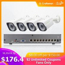 4ch 5mp poe kit h.265 sistema de segurança cctv até 8ch nvr câmera ip impermeável ao ar livre alarme de vigilância vídeo p2p g. craftsman
