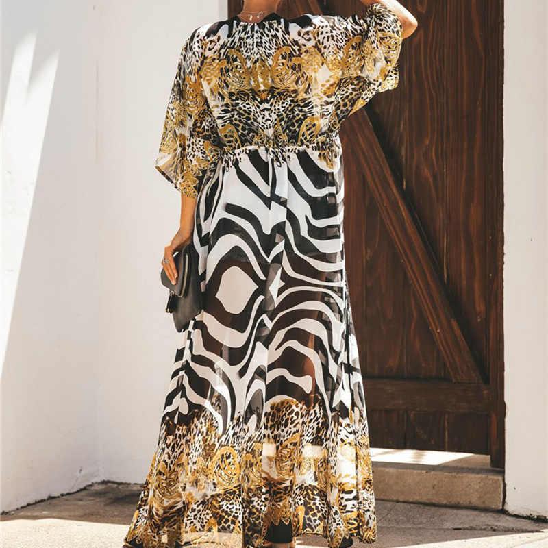 2020 Bikini Bao-Bộ Lưu Điện Bohemian Dài In Áo Khoác Cardigan Kimono Plus Kích Thước Voan Áo Thun Nữ Mặc Đi Biển Quần Bơi Bao lên Q912