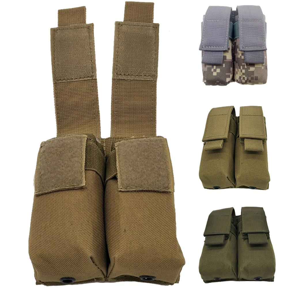 Outdoor Molle System Tactical Pistol Double Magazine Pouch Molle Clip Military Airsoft Mag Holder Bag Hunting Accessories