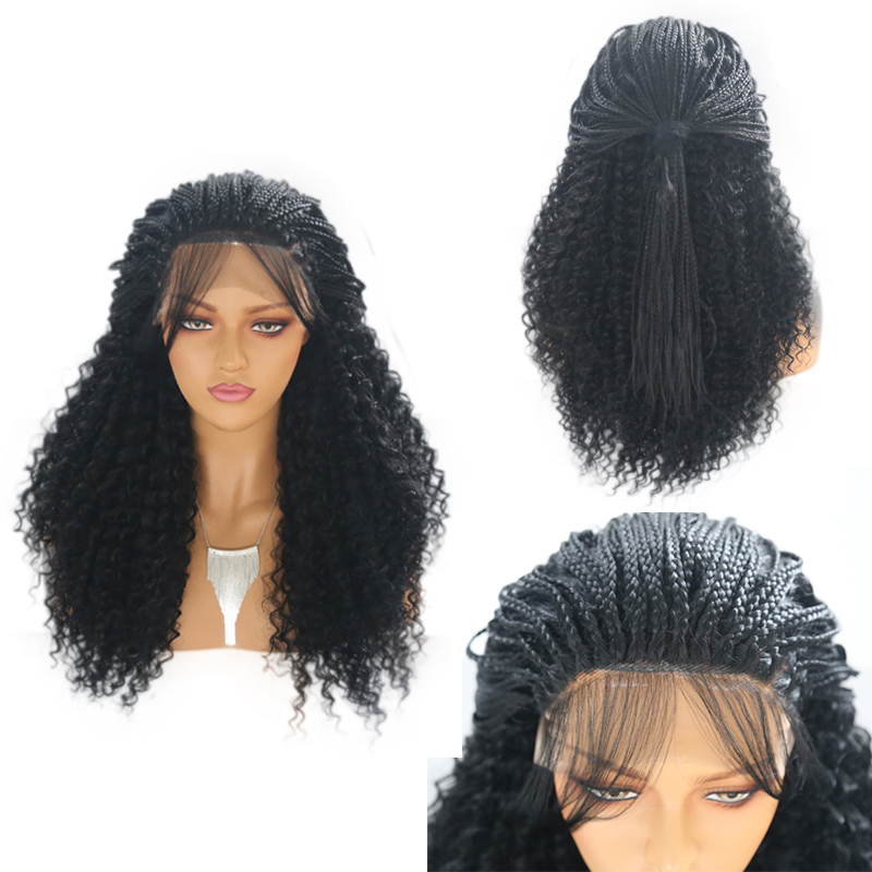 RONGDUOYI Short Black Braided Synthetic Lace Front Wig Glueless Heat Resistant Fiber Curly Hair Wigs For Women Natural Hairline