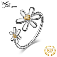 JPalace Flower Created Orange Sapphire Ring 925 Sterling Silver Rings for Women Stackable Jewelry Fine