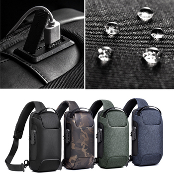 Men's Waterproof USB Oxford Crossbody Bag Anti-theft Shoulder Sling Bag Multifunction Short Travel Messenger Chest Pack For Male 4