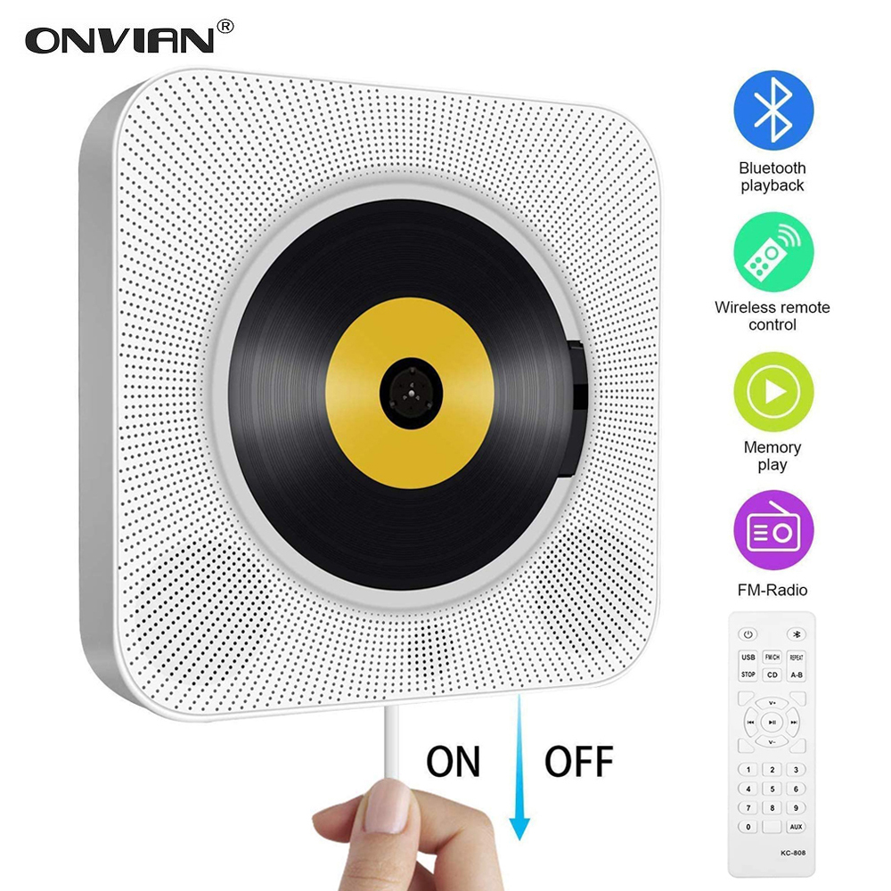 Onvian wall mounted cd player surround som rádio fm bluetooth usb mp3 disk leitor de música portátil controle remoto estéreo alto-falante