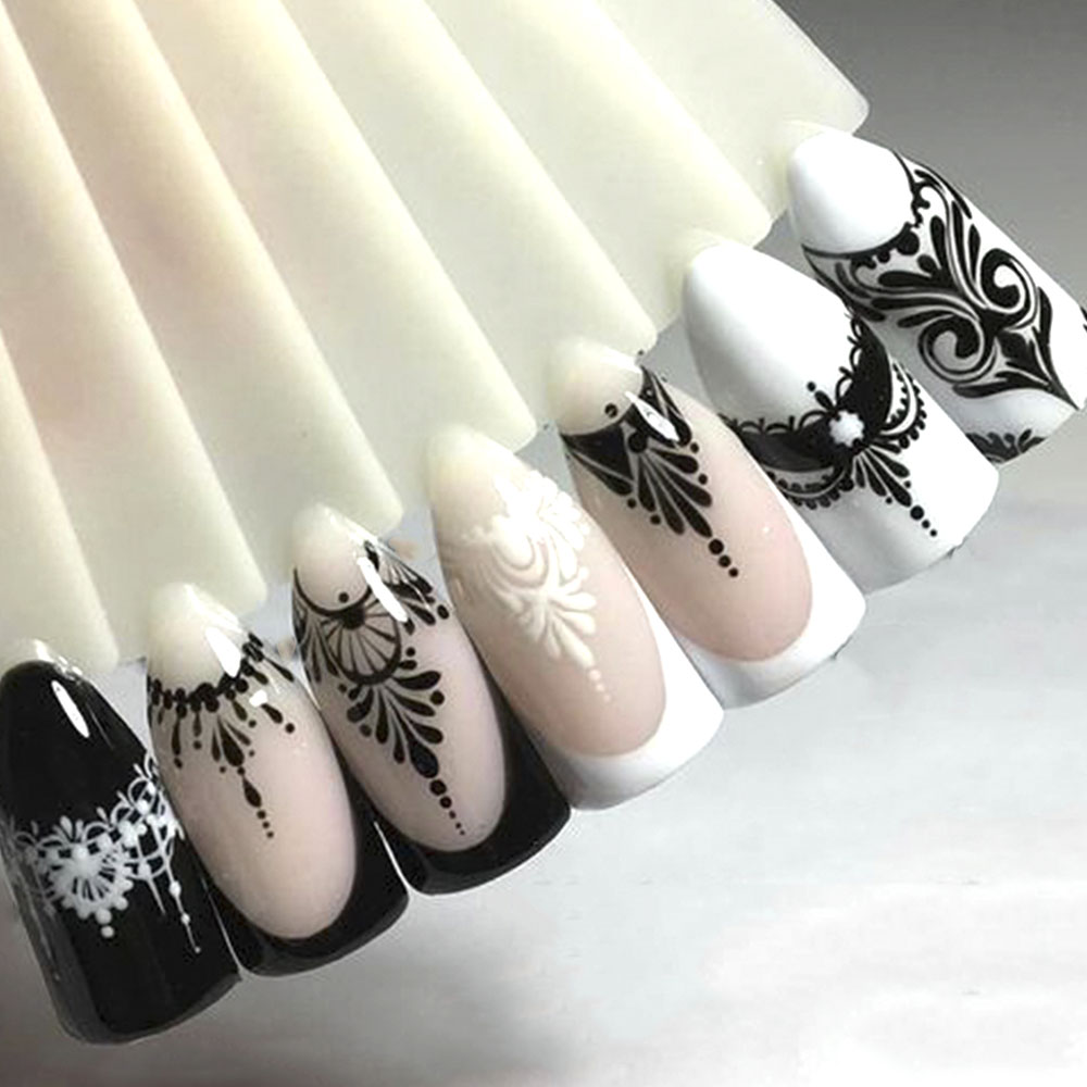 Full Beauty Lace Necklace Water Decals Nail Art Sticker Witch Black Flower Watermark Transfers Sliders Decoration TRSTZ771-777