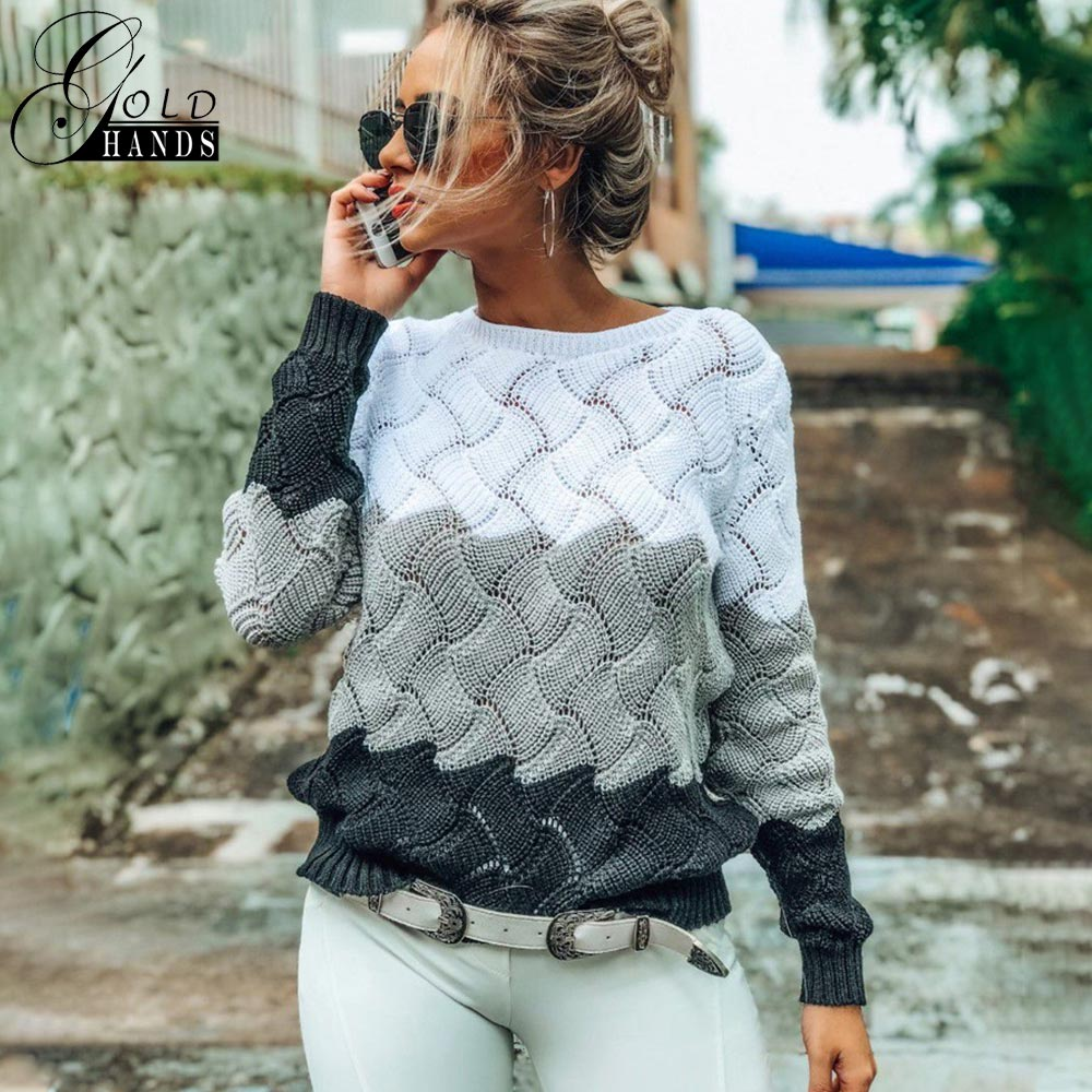 Gold Hands New Women Vintage Splice Autumn Ladies Pullover Jumper  Winter Long Sleeve Crewneck Knitted Pullover Sweater Free  ShipPullovers