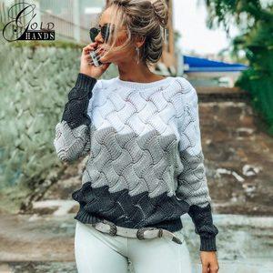 Image 1 - Złote dłonie nowe damskie Vintage Splice jesień sweter damski sweter zimowy z długim rękawem Crewneck dziergany sweter sweter uwalnia statek