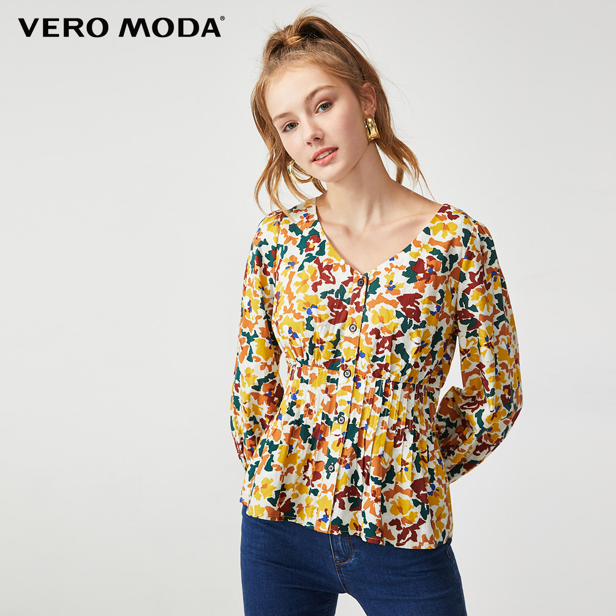 Vero Moda Women's Prairie Chic V-neckline 3/4 Sleeves Elasticized Waist Blouse | 319331590